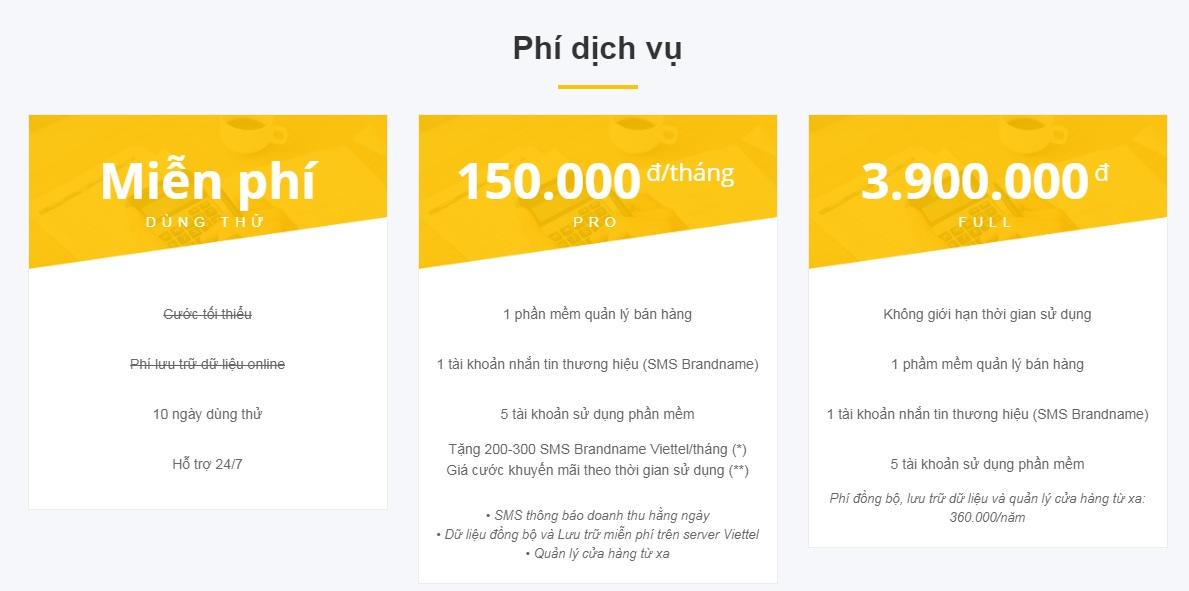 Phần mềm quản lý bán hàng Shop One của Viettel