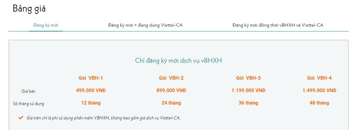 bảng giá dịch vụ vBHXH của Viettel